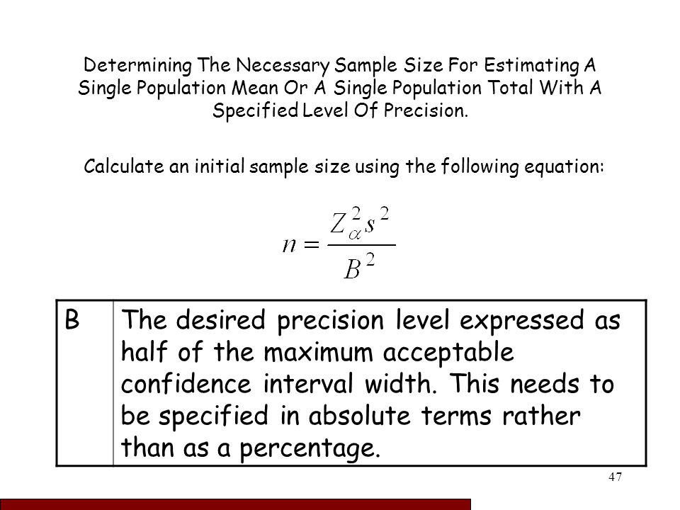 how to find sample size formula
