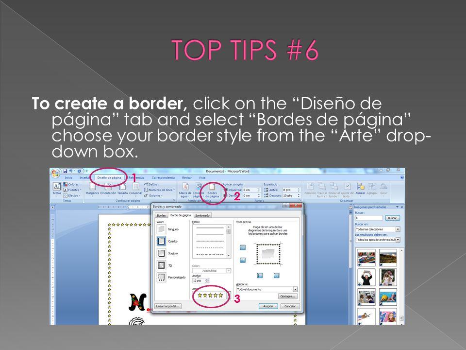 TOP TIPS #6