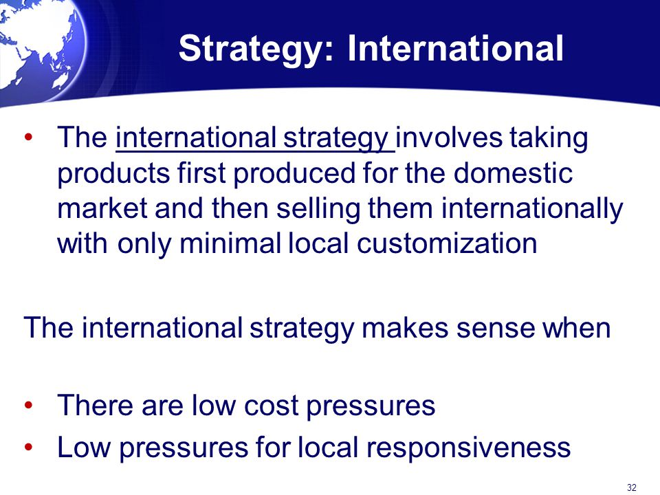 Strategy: International