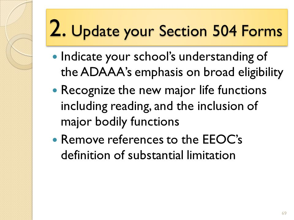understanding section 504 What is section 504 section 504 is a law the prevents discrimination against children with disabilities what does it do section 504 makes sure that a student with a disability has equal access to an education and to benefits and services similar to those given to classmates without a disability.