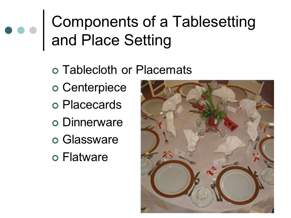 Components of a Tablesetting and Place Setting