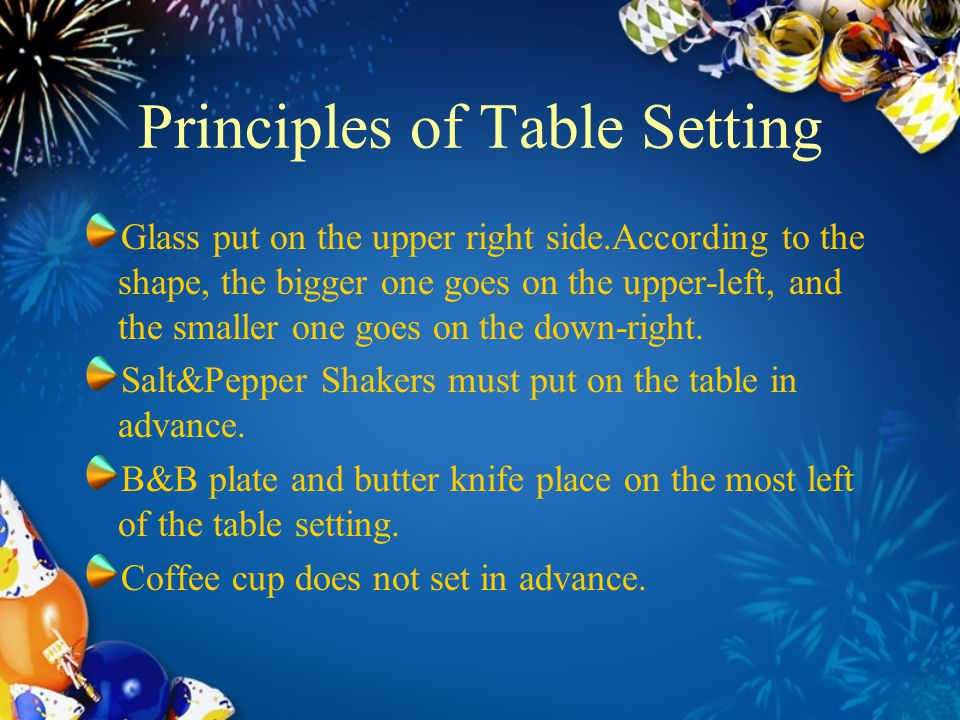 Principles of Table Setting  sc 1 st  SlidePlayer & The introduction of Tableware and Table Setting - ppt video online ...