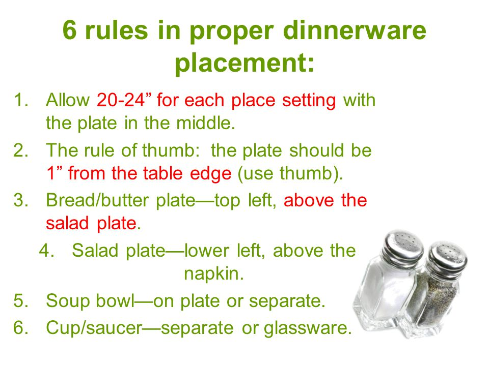 6 rules in proper dinnerware placement  sc 1 st  SlidePlayer & Table Placement. - ppt video online download