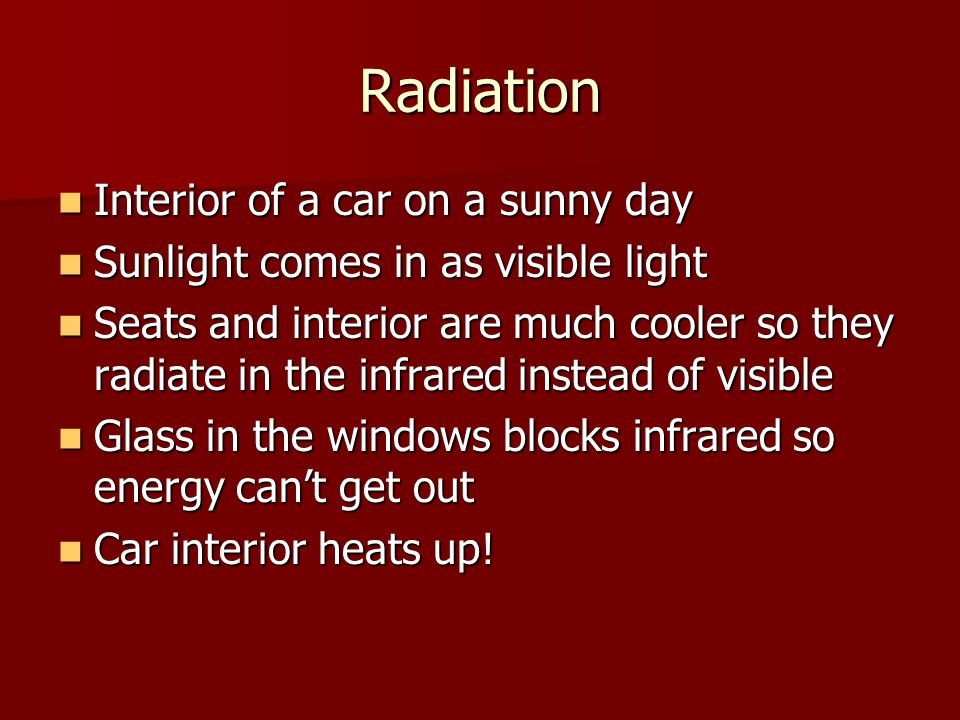 Radiation Interior of a car on a sunny day