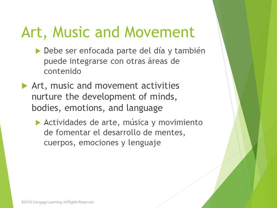 Art, Music and Movement Debe ser enfocada parte del día y también puede integrarse con otras áreas de contenido.