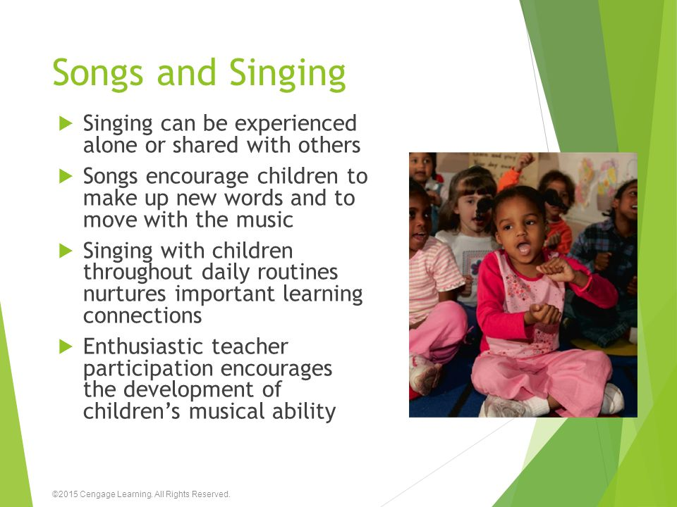Songs and Singing Singing can be experienced alone or shared with others.