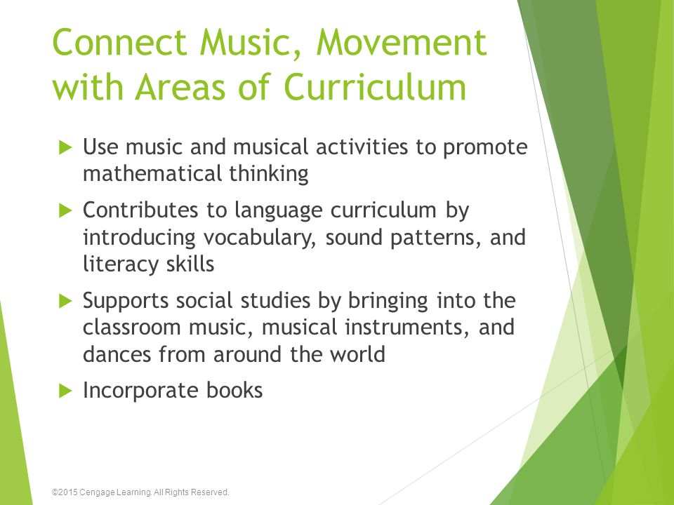 Connect Music, Movement with Areas of Curriculum
