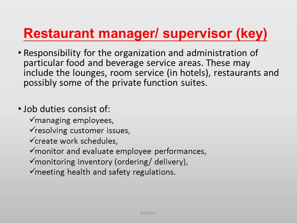 Restaurant Supervisor Job Description | Template