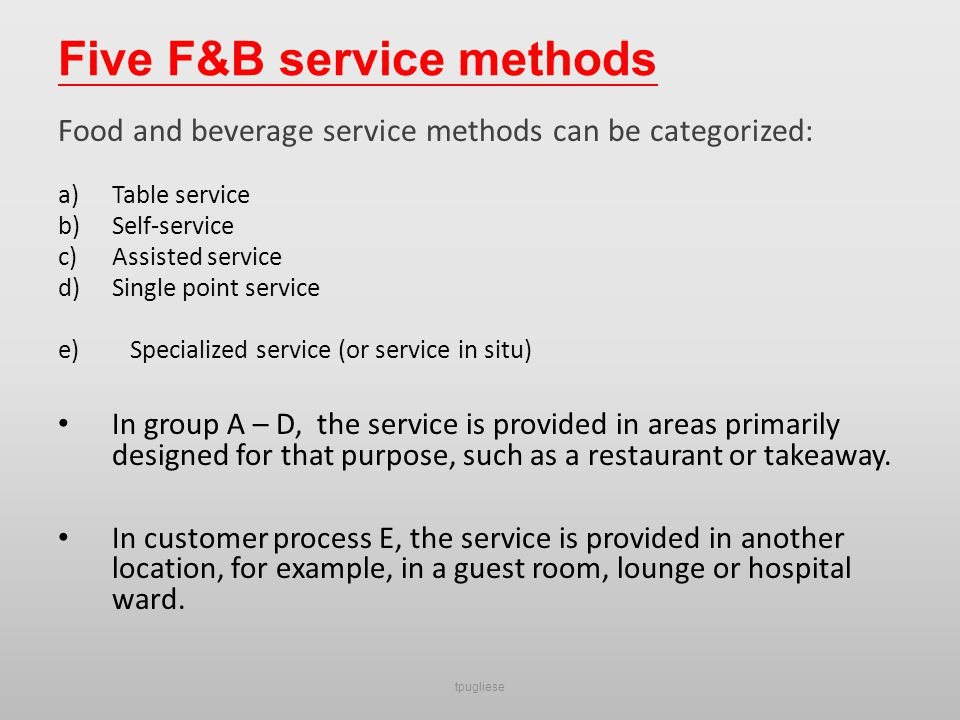 Introduction To Food And Beverage Management