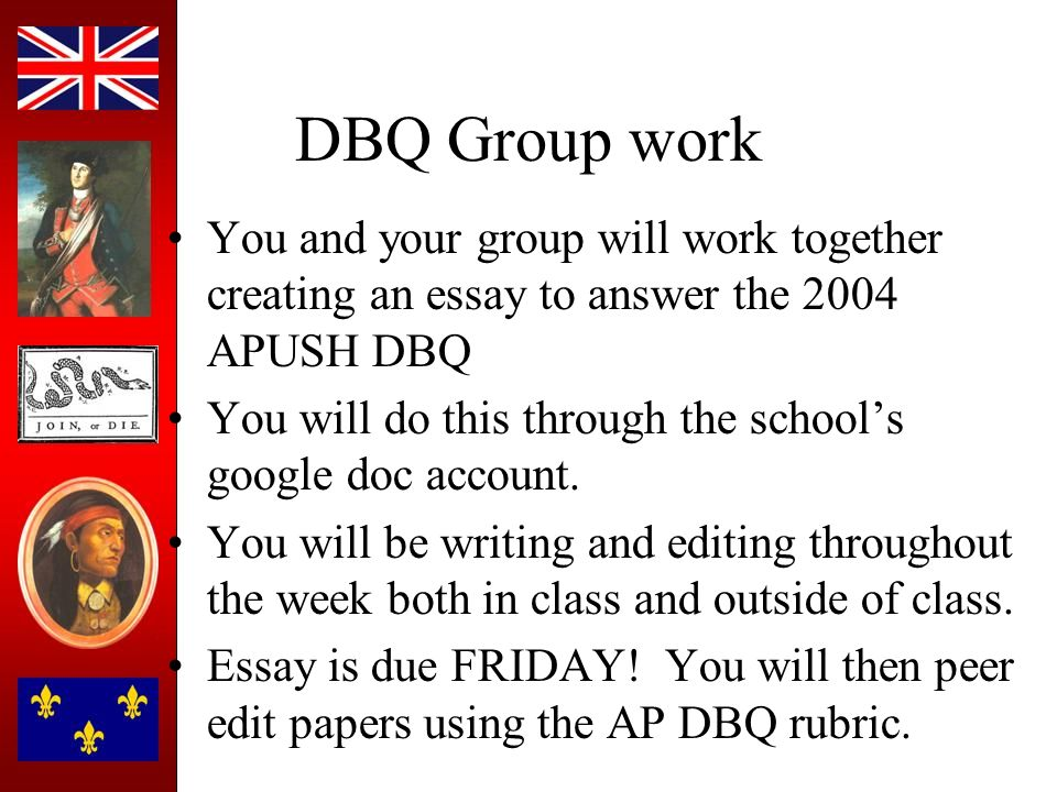 2004 apush dbq essay My apush teacher gives us dbq's and essays to do pretty much every 4 or 5 days this is a sample dbq essay that i wrote in response to one of his prompts.