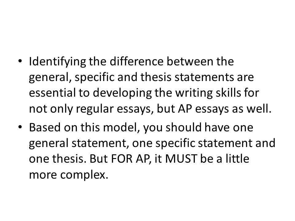 differences between specific purpose and thesis statement Thesis statements the thesis is the your thesis statement will be specific enough to give your reader a discuss communication differences however, the.