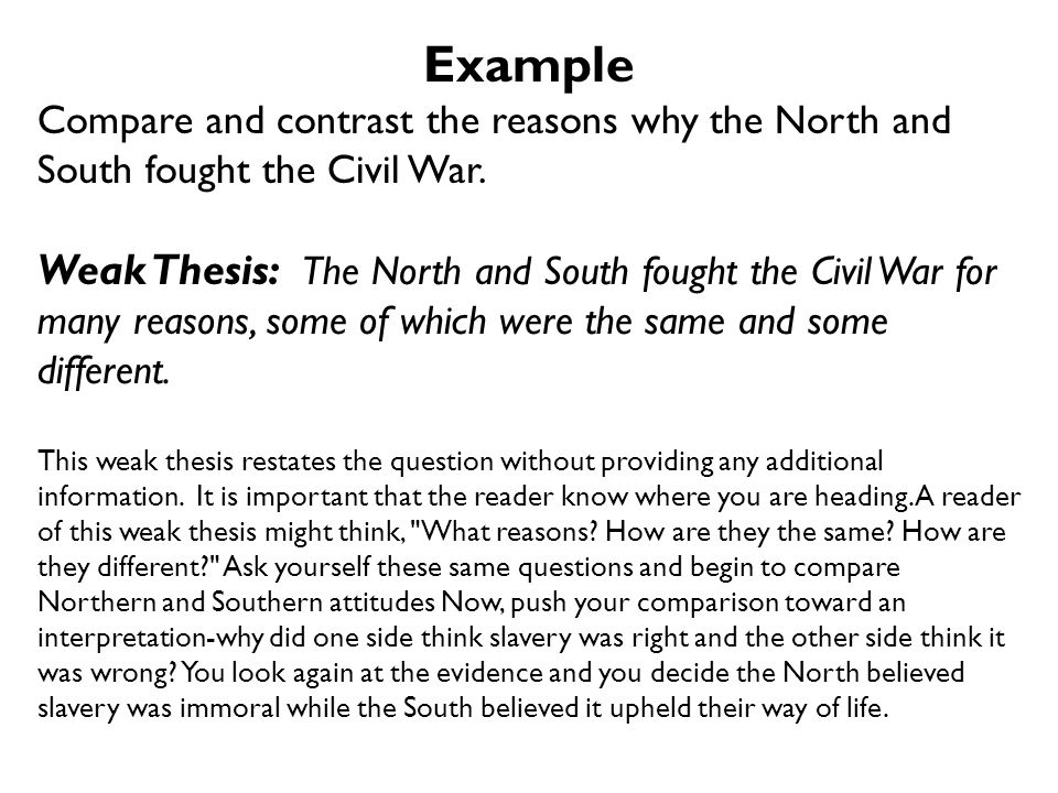 if the north were the south same thing essay The north had lots of factories the north had big cities the north didn't have any slaves the south had many plantations the south had very small towns the south had many slaves they both were made up of several states they both had ways of making a living they both sell their goods to other states in the us.