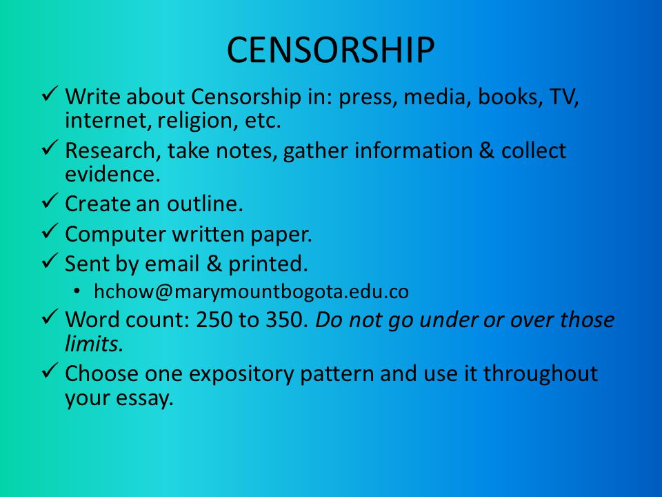 essay on media censorship Nowadays, the internet has been gaining its popularity at an amazing rate the internet has become an important communicative tool, which br.