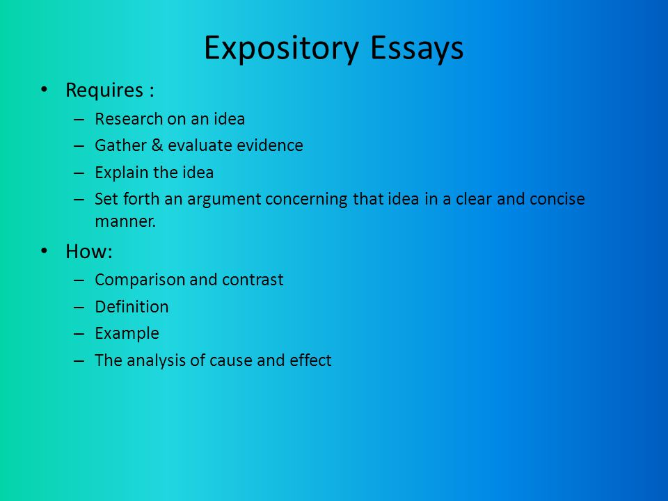 ideas for expository essays Need a perfect topic for your expository essay we have made a list of 10 unusual topics that you can use straight away for your essay or use as an inspiration.
