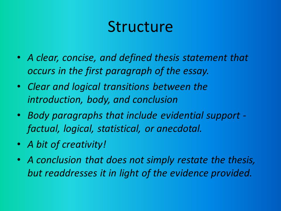 write clear concise thesis A clear, concise thesis statement does more than outline the subject in question it makes the reader aware of the writer's stand on the subject in question, connecting a subject with a controlling idea.
