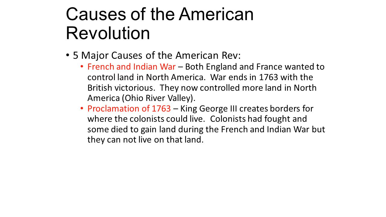 understanding the causes of the american revolution This was one of the main causes of the revolutionary war the revenue act of 1764 made the constitutional issue of whether or not the king had the right to tax the thirteen colonies an issue, and this eventually became an entering wedge in the great dispute that was finally to wrest the american colonies from england.