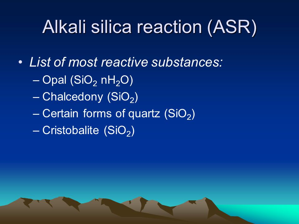 alkali silica reaction thesis Alkali-silica reaction (asr) is a chemical reaction between the alkalis in portland cement and certain types of silica minerals present in some aggregates the reaction product.