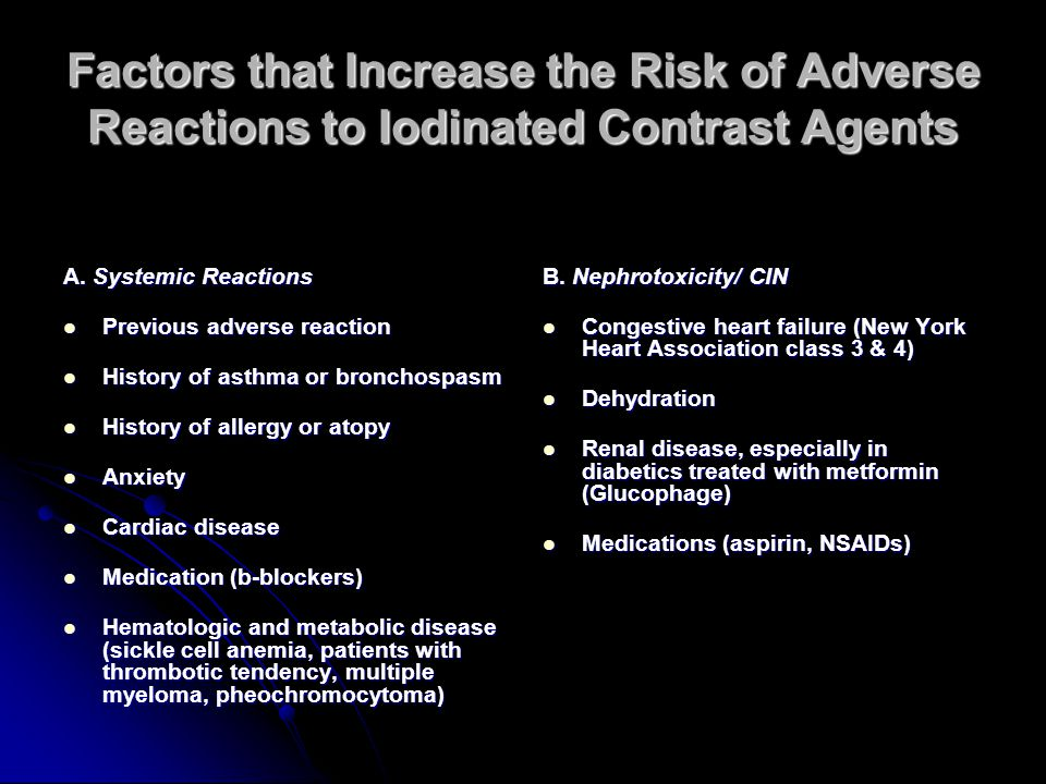 Factors that Increase the Risk of Adverse Reactions to Iodinated Contrast Agents