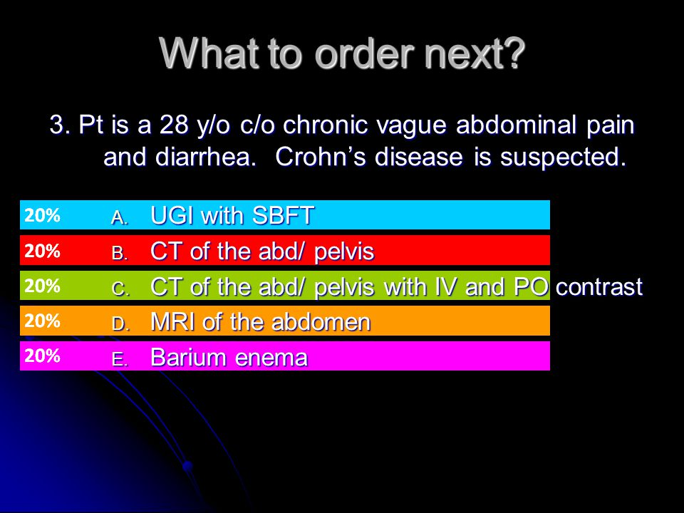 What to order next 3. Pt is a 28 y/o c/o chronic vague abdominal pain and diarrhea. Crohn's disease is suspected.