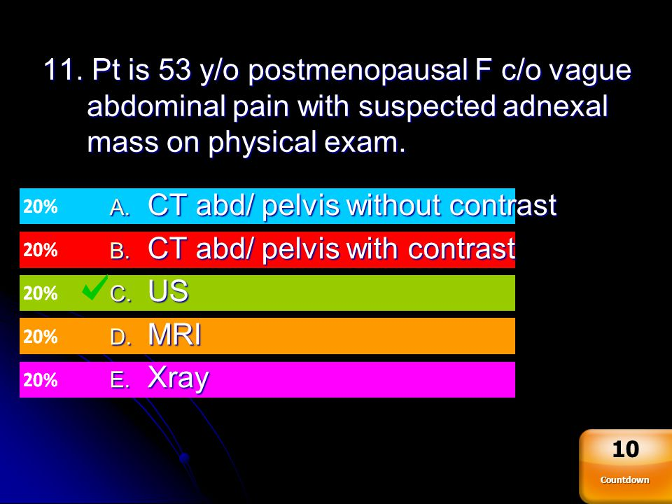 CT abd/ pelvis without contrast CT abd/ pelvis with contrast US MRI