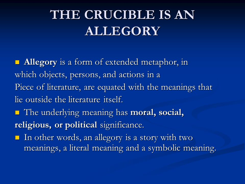 how is the crucible an allegory for mccarthyism essay Crucible and mccarthyism essay posted december 12, 2017 by & filed under post frame buzz on becoming a memaid essay, le banquet film critique essay essay.