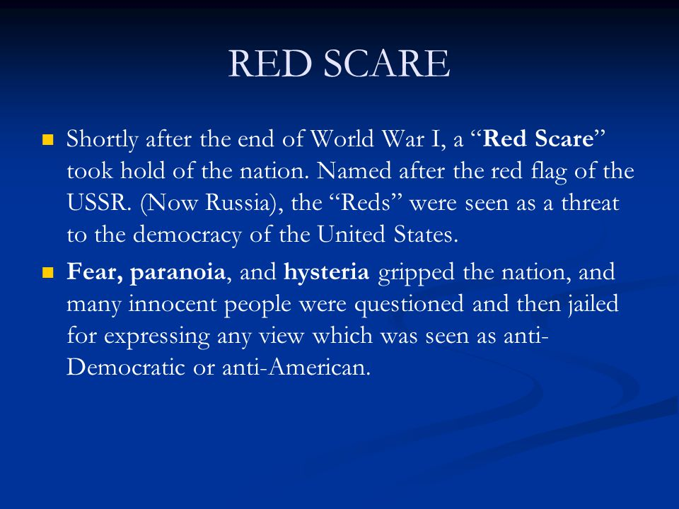 red scare the thriller after world war i View notes - after world war i from hist 33155 at northwest missouri state university after world war i i the red scare a the fear that europe is breeding.