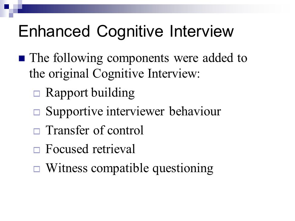 Enhanced Cognitive Interview