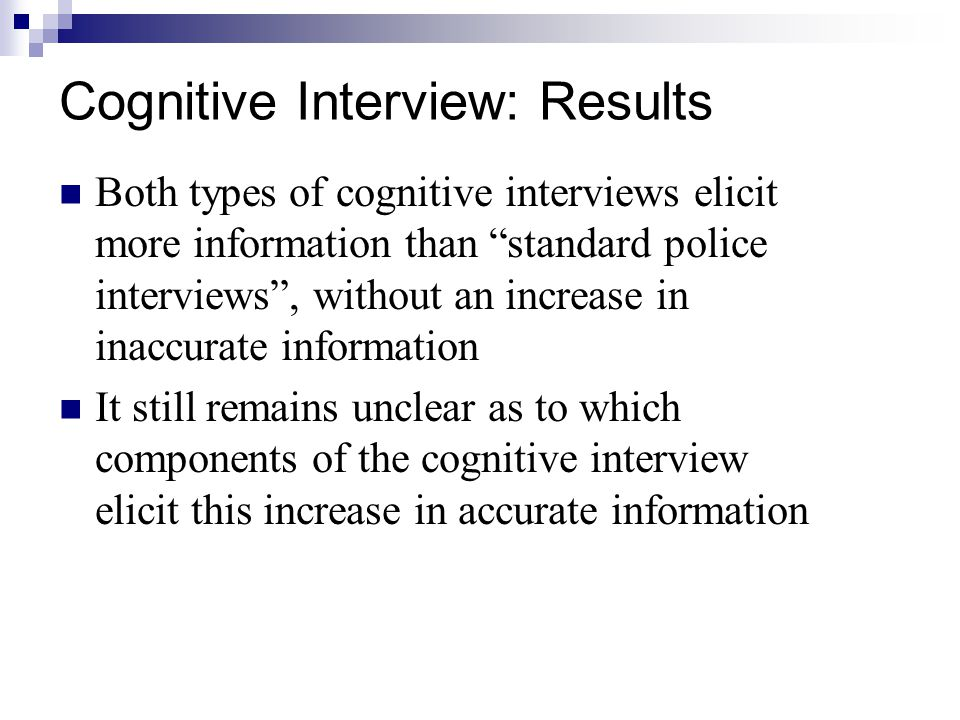 Cognitive Interview: Results