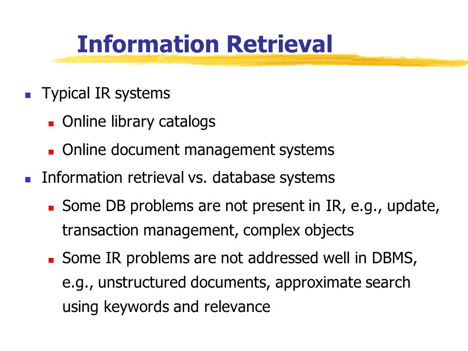 database management and information retrieval systems How is data management and information retrieval system abbreviated  dmirs is defined as data management and information retrieval system very rarely dmirs stands for data management and information retrieval system printer friendly menu search acronymatticcom abbreviation to define find examples: nfl, nasa, psp, hipaa tweet what.