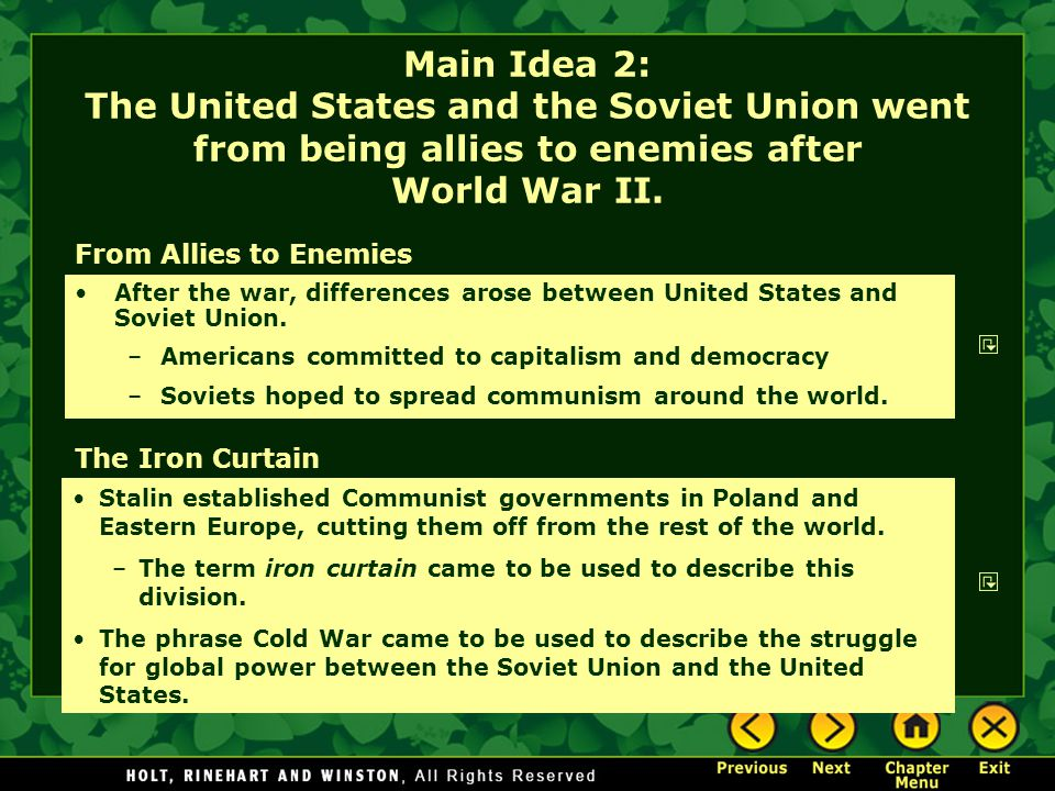 the struggle between the communist and democratic nations after world war ii After world war ii, the long period of intense rivalry between the soviet union  and  by the united states and western european nations to fight soviet  aggression  the democratic nations of the west from the communist nations of  the east.