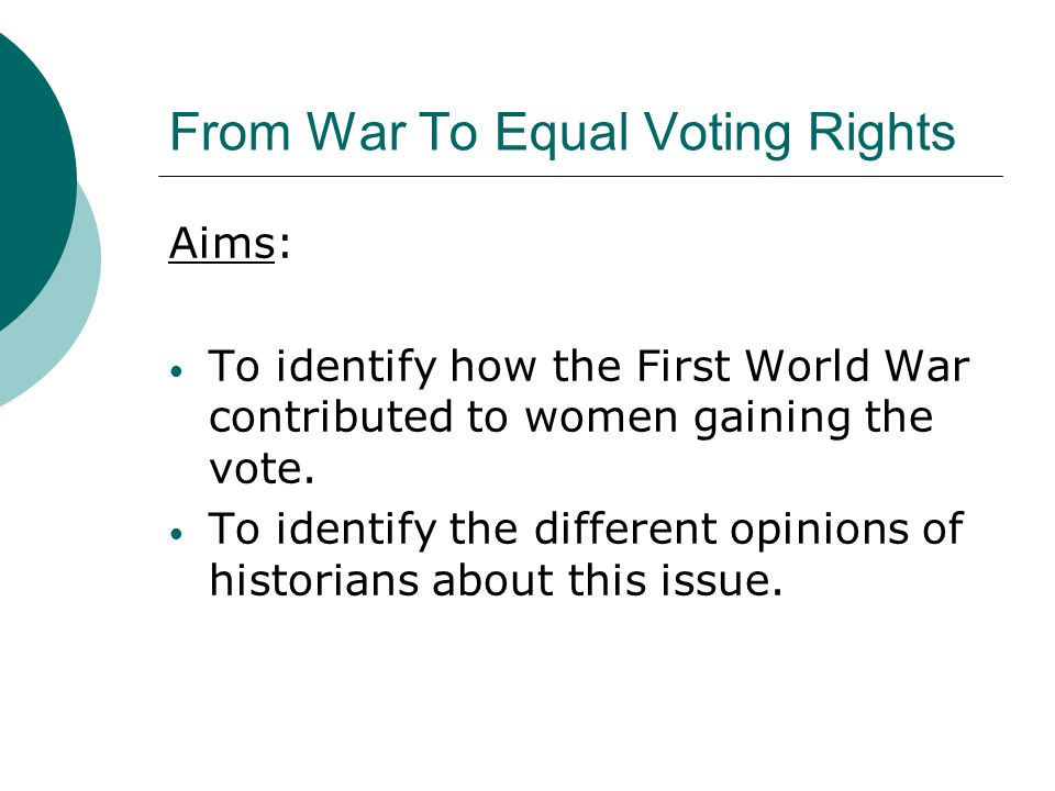 From War To Equal Voting Rights