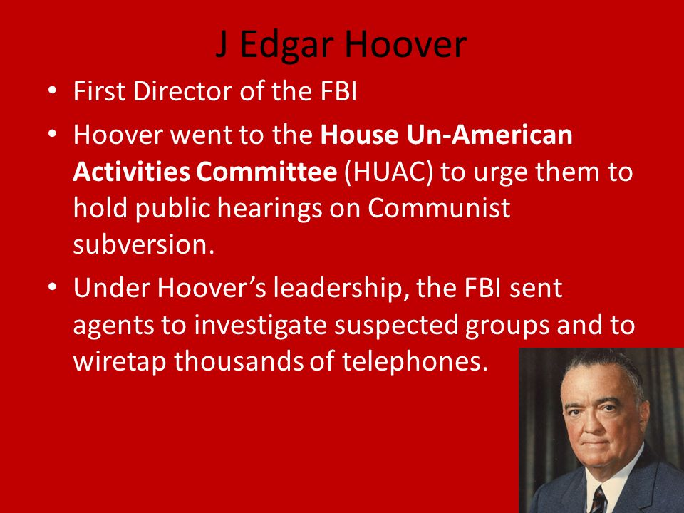 J Edgar Hoover First Director of the FBI