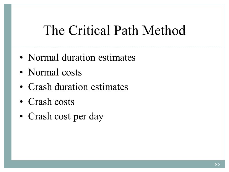 the crash cost per day per activity There is always a consequence to a schedule overrun  the contractor and his  principal eat into their profit margin for every day of non delivery  compressing  a schedule means that you will be conducting project activities in parallel  the  total crash cost for a certain project duration can then be.