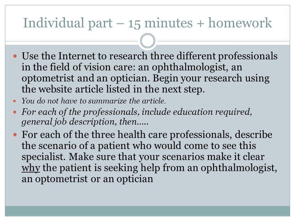 HBS ppt download – Job Description for Optician