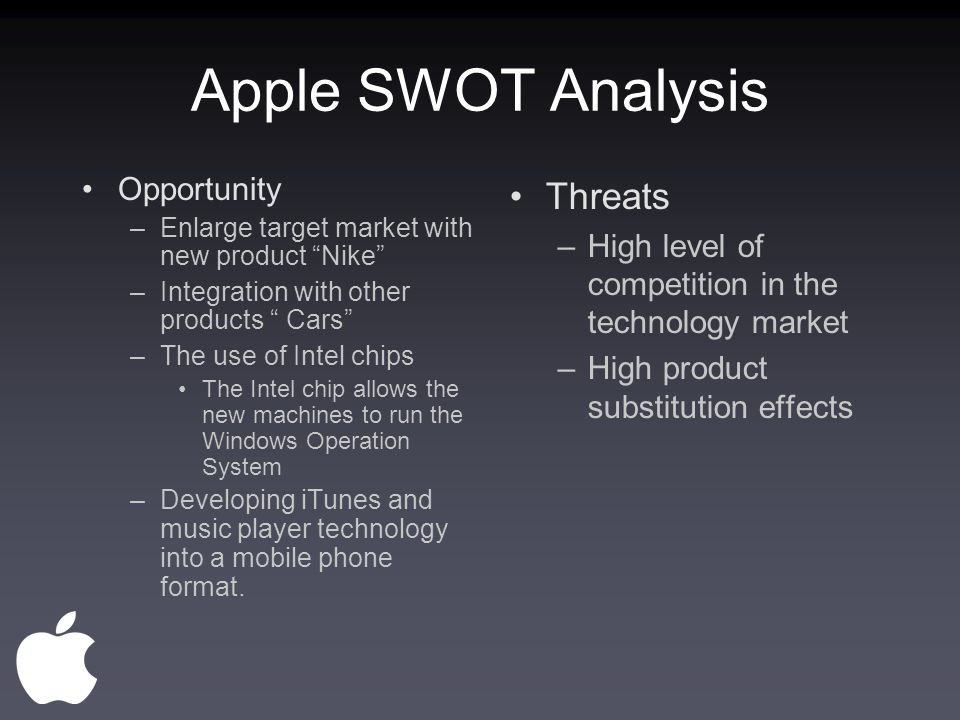 apple opportunities and threats Wikiwealth offers a comprehensive swot analysis of apple (aapl) our free research report includes apple's strengths, weaknesses, opportunities, and threats.