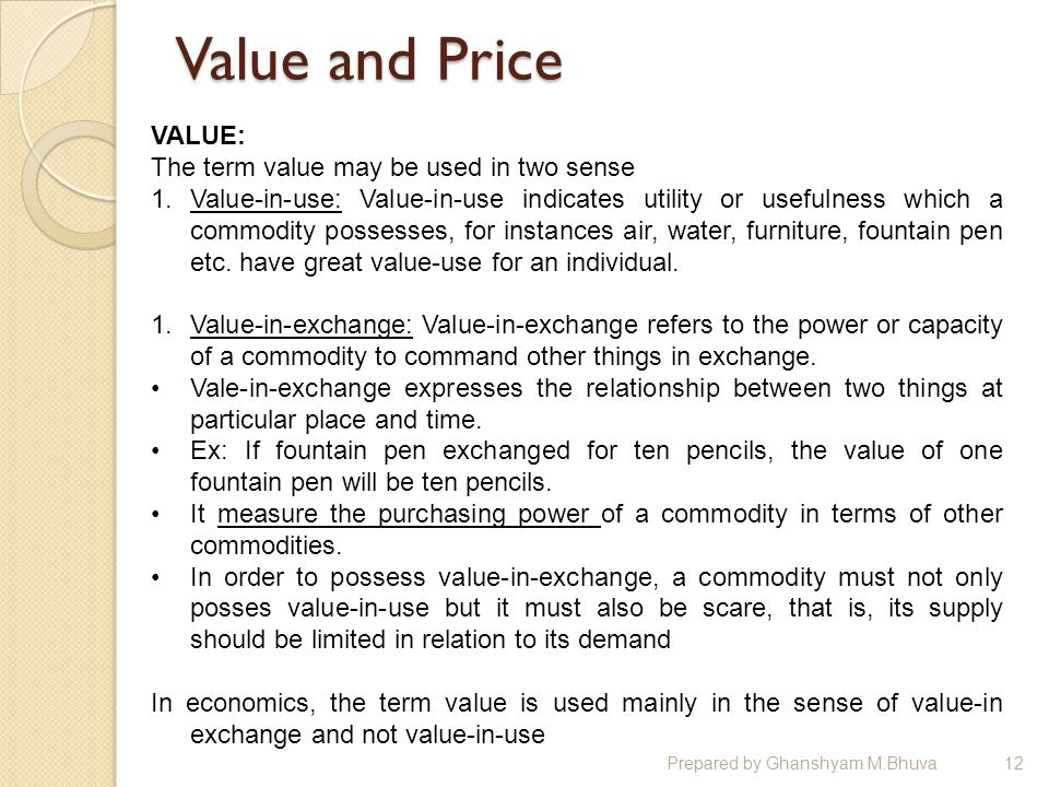 price and value relationship inc