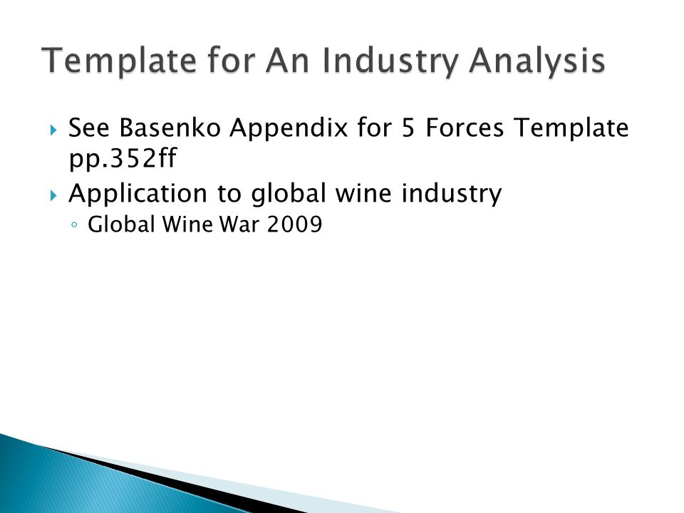 Economics of Strategy AEC 422 Unit 3 Chapter 12 Industry Analysis – Industry Analysis Template