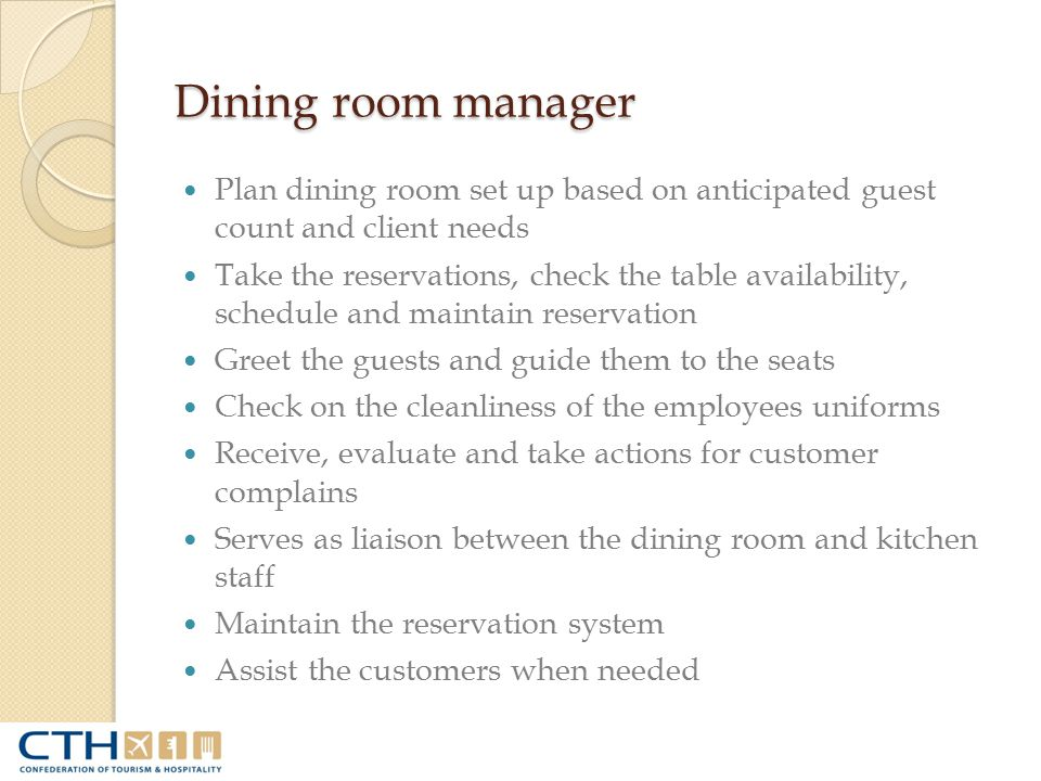 Cherry dining room set harmony buffet definition of for Dining room manager job description