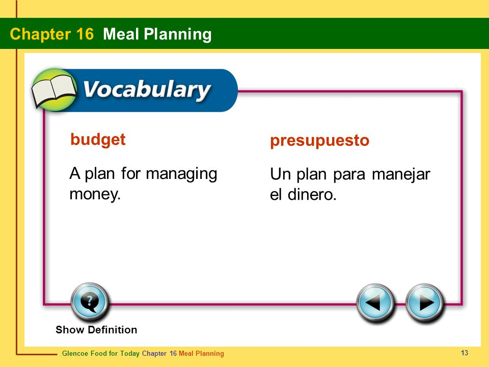 A plan for managing money. Un plan para manejar el dinero.