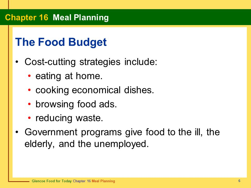 The Food Budget Cost-cutting strategies include: eating at home.