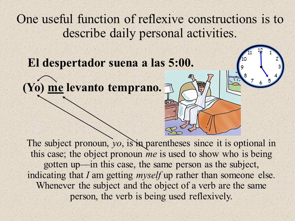 One useful function of reflexive constructions is to describe daily personal activities.