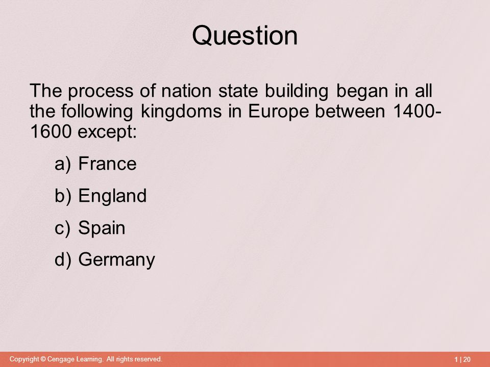 In Europe The State Building Process Began In