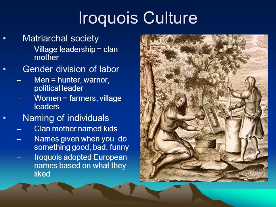 Iroquois Culture Matriarchal society Gender division of labor