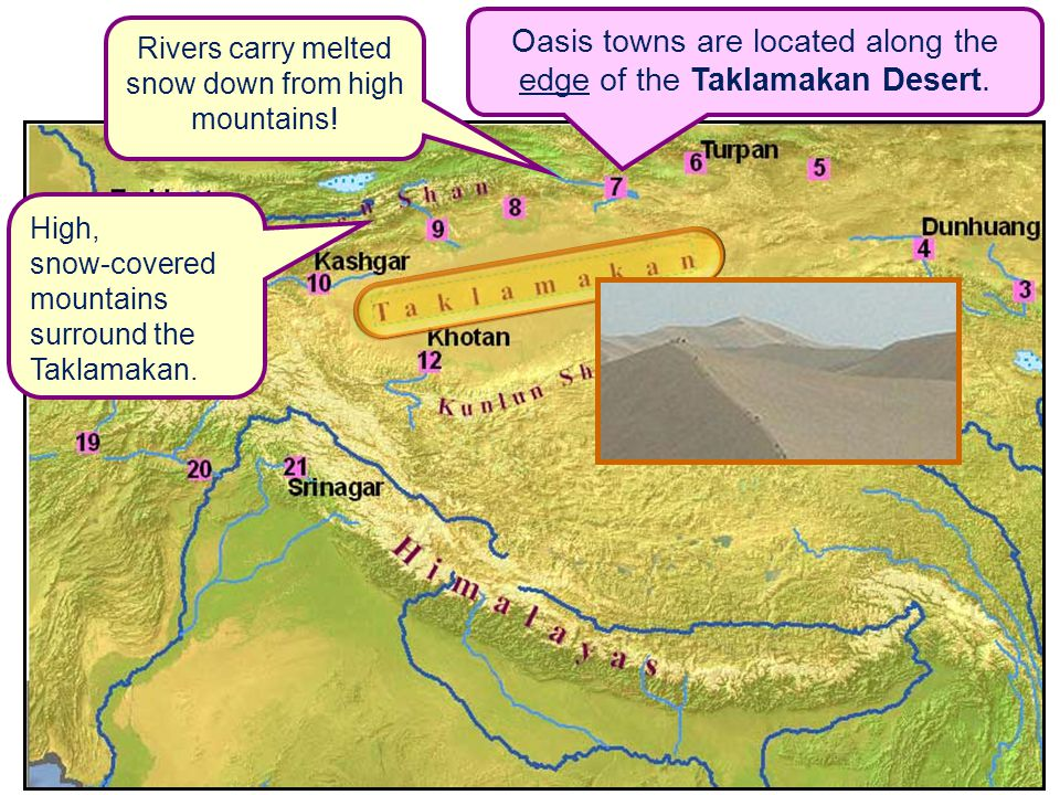 Oasis towns are located along the edge of the Taklamakan Desert.