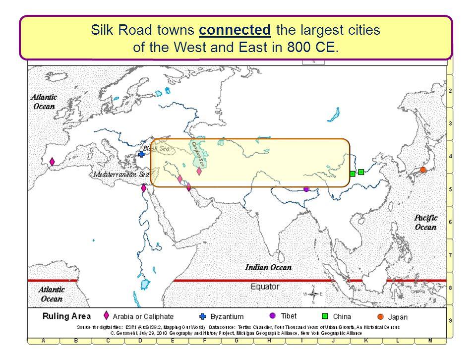 Silk Road towns connected the largest cities of the West and East in 800 CE.