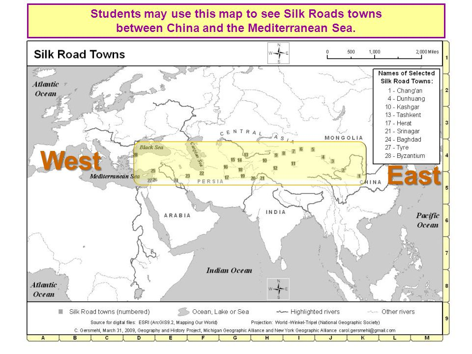 Students may use this map to see Silk Roads towns between China and the Mediterranean Sea.