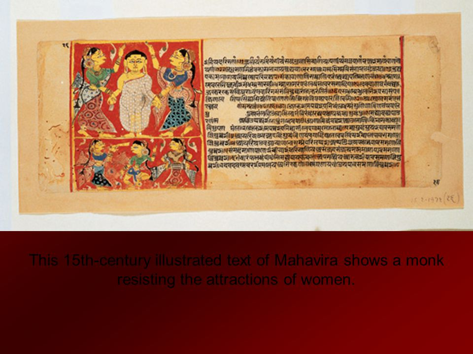 This 15th-century illustrated text of Mahavira shows a monk resisting the attractions of women.