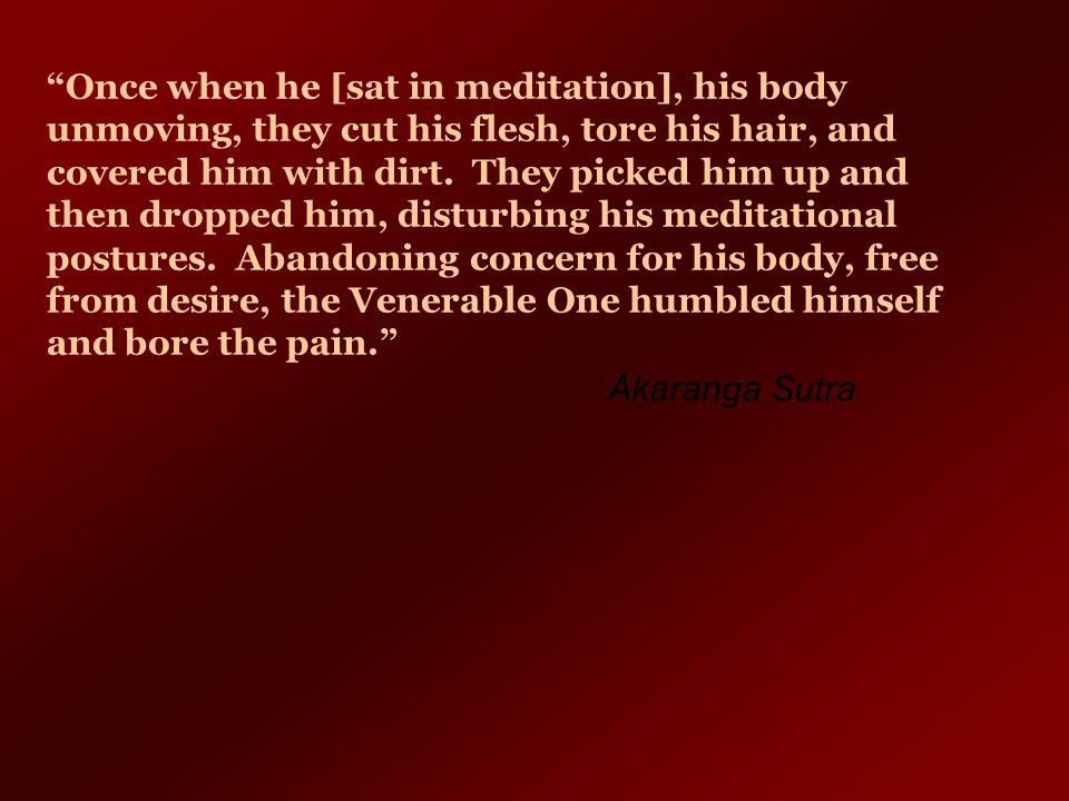 Once when he [sat in meditation], his body unmoving, they cut his flesh, tore his hair, and covered him with dirt. They picked him up and then dropped him, disturbing his meditational postures. Abandoning concern for his body, free from desire, the Venerable One humbled himself and bore the pain.