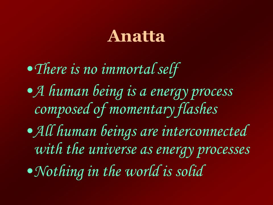 Anatta There is no immortal self. A human being is a energy process composed of momentary flashes.