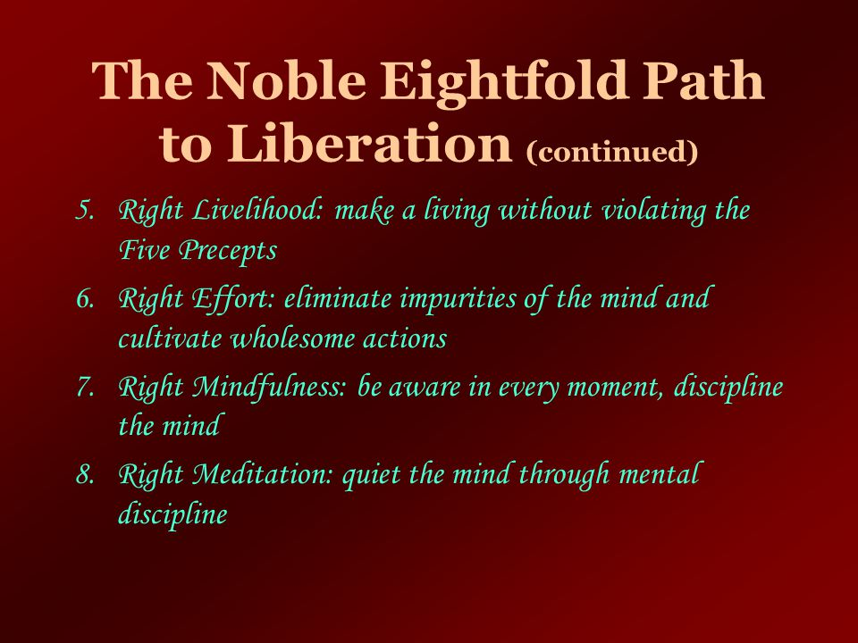 The Noble Eightfold Path to Liberation (continued)